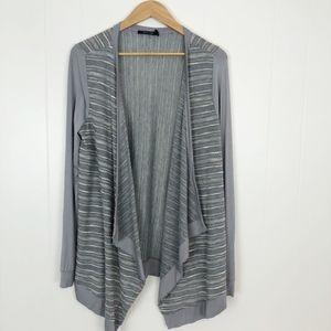 NWT Doe & Rae Open Front Cardigan Gray and White L